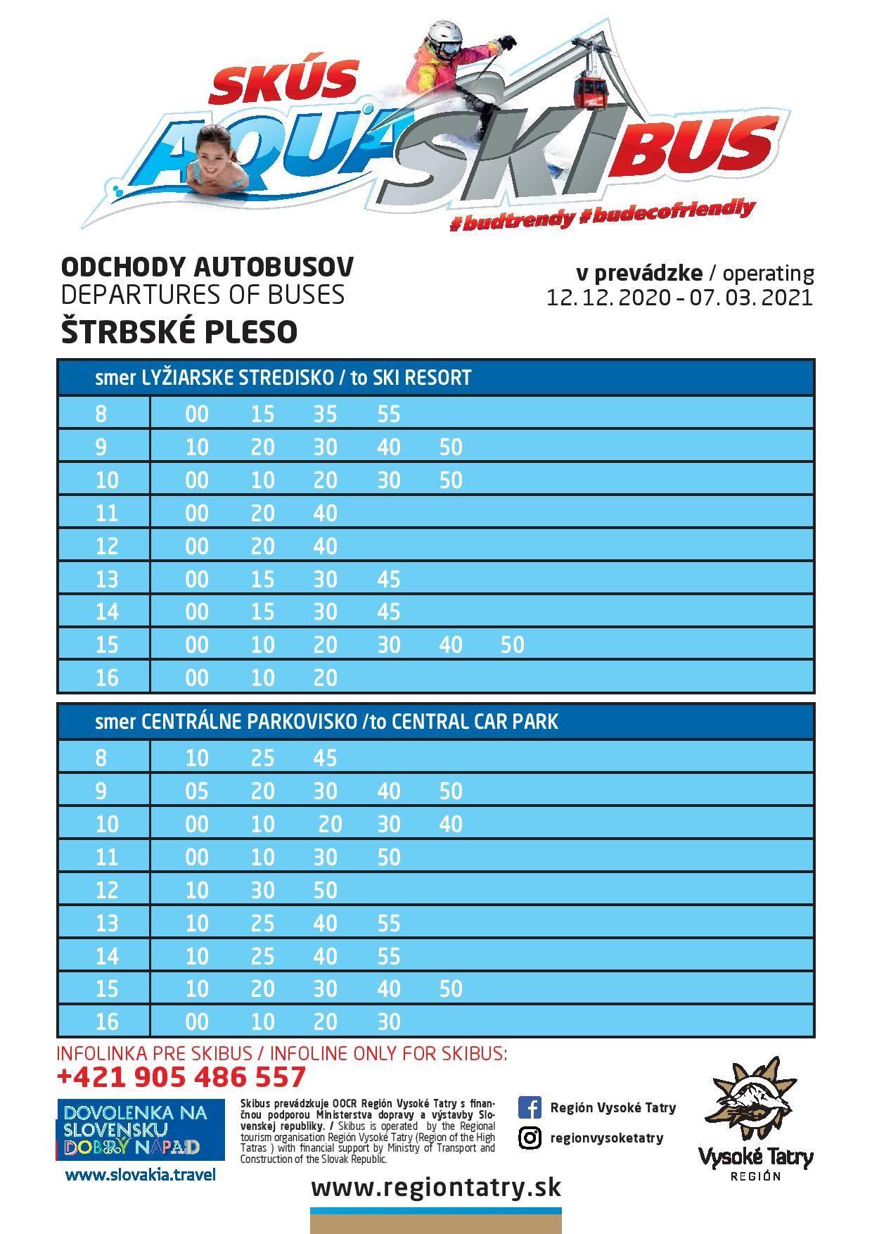 Ski&Aqua Bus Vysoké Tatry Timetable