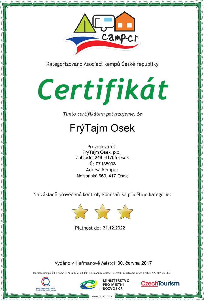 Certifikát Autocamp osek