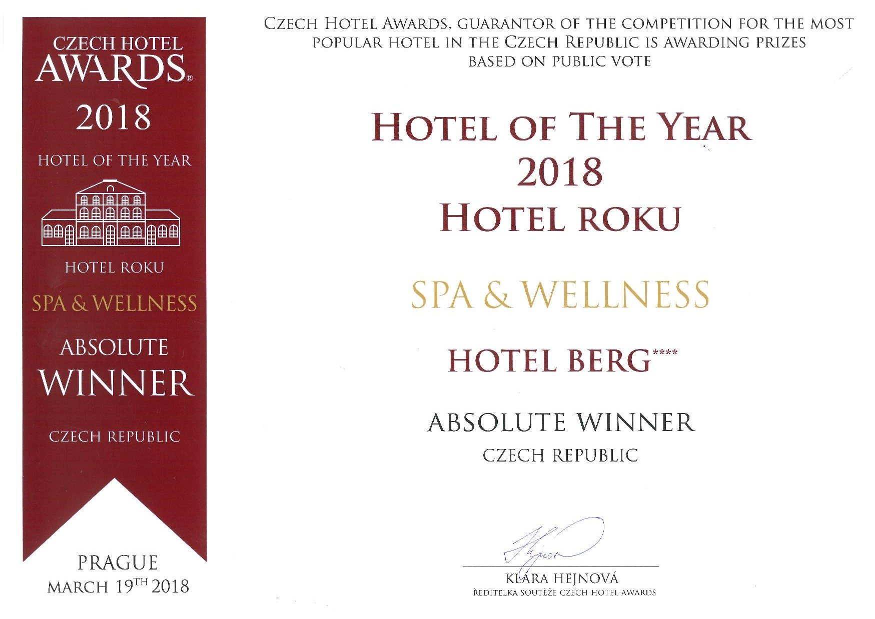 hotel berg AWARDS HOTEL SPA WELLNESS 2018