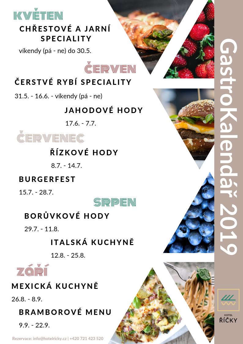 GastroKalendář 2019, restaurace Wellness hotelu Říčky