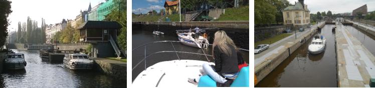 Vltava s lodí - plavební komory na Vltavě