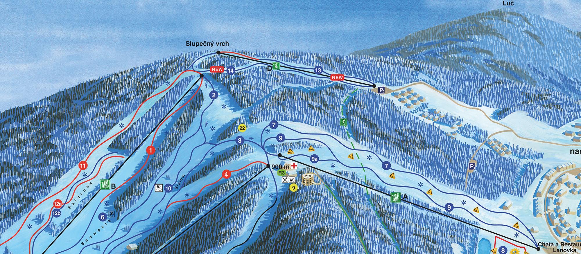 Skiareal Lipno mapa