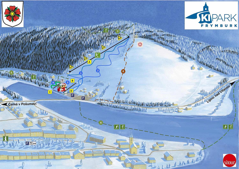 Skipark Frymburk mapa
