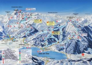 Mapa zimních středisek v Zell am See a na Kaprunu