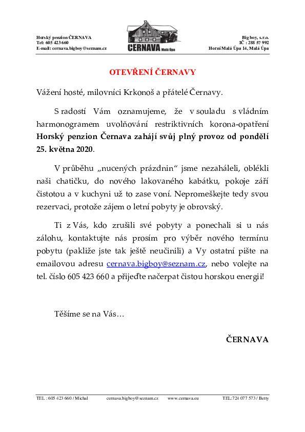 Otevření Černavy